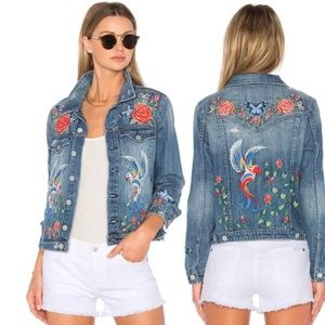 Blank NYC • Floral Bird Embroidered Denim Jacket